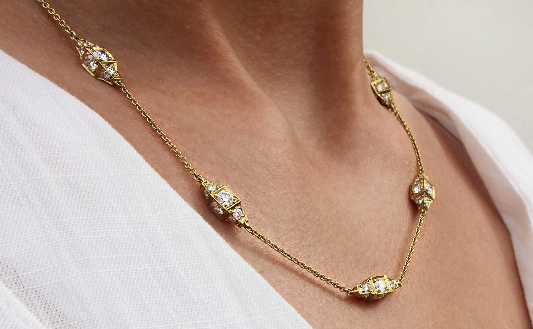 "Michael B Designed, Exclusive, Patented Diamond ""SugarCube""™ Necklace in 18 Karat Yellow Gold"